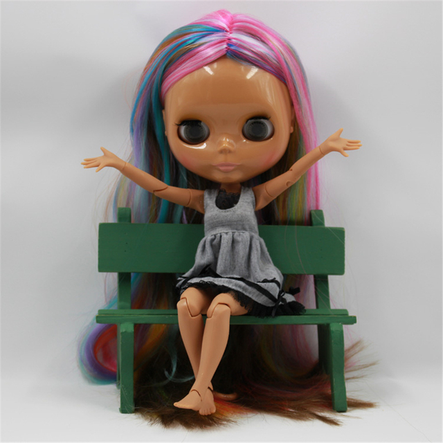 Blyth Doll 1/6 Colorful Hair Central Cut Chocolate Dark Skin 4 Colors For Eyes Suitable For DIY Free Shipping toy gift