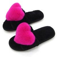 2017 autumn winter summer women sandals fuzzy plush real natural rabbit fur slides mules slippers flat platform sandals