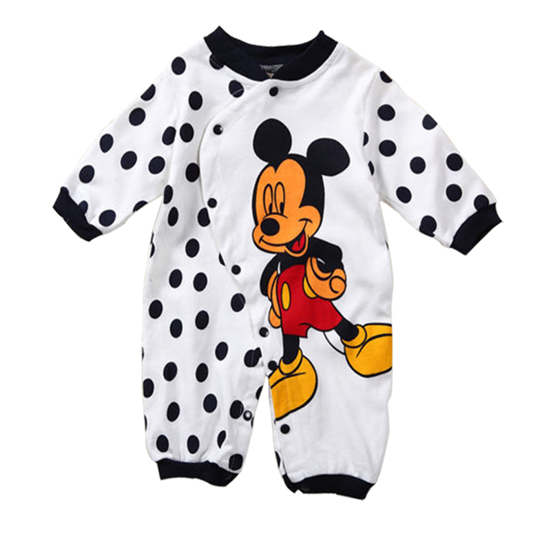 Baby Rompers Spring Newborn Baby Clothes Cotton Baby Boy Clothes Cartoon Baby Girl Clothes Roupas Bebe Mickey Infant Jumpsuits fashion baby clothes cartoon baby boy girl rompers cotton animal and fruit pattern infant jumpsuit hat set newborn baby costumes