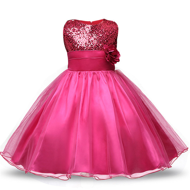 Aine Baby Princess Girl Sleeveless Sequins Floral Ball Gown Party