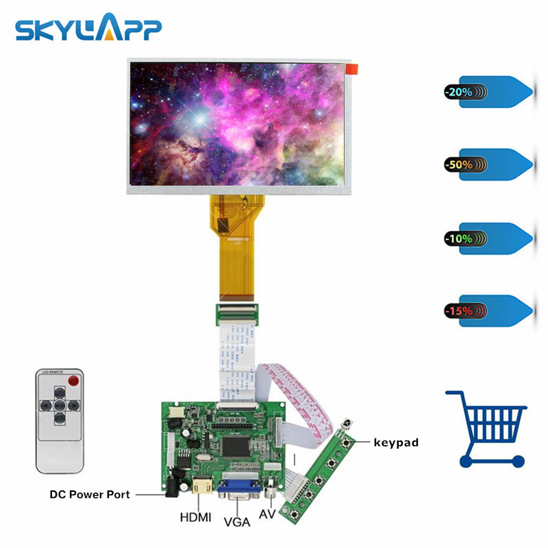 skylarpu 7 inch LCD Display with Touch TFT Monitor for AT070TN93 with HDMI VGA Input Driver Board Controller for Raspberry Pi