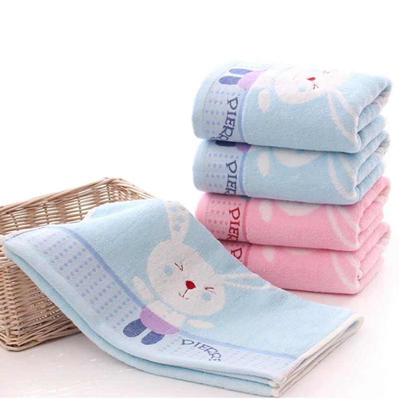 Baby bath cotton 35*75cm newborn textile cotton towel cartoon baby bath towel Cotton thickened baby washcloth 2 colors A4