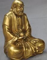 10Tibet Buddhism Brass Dharma DaMo Bodhidharma Ancestor Buddha hold bowl Statue