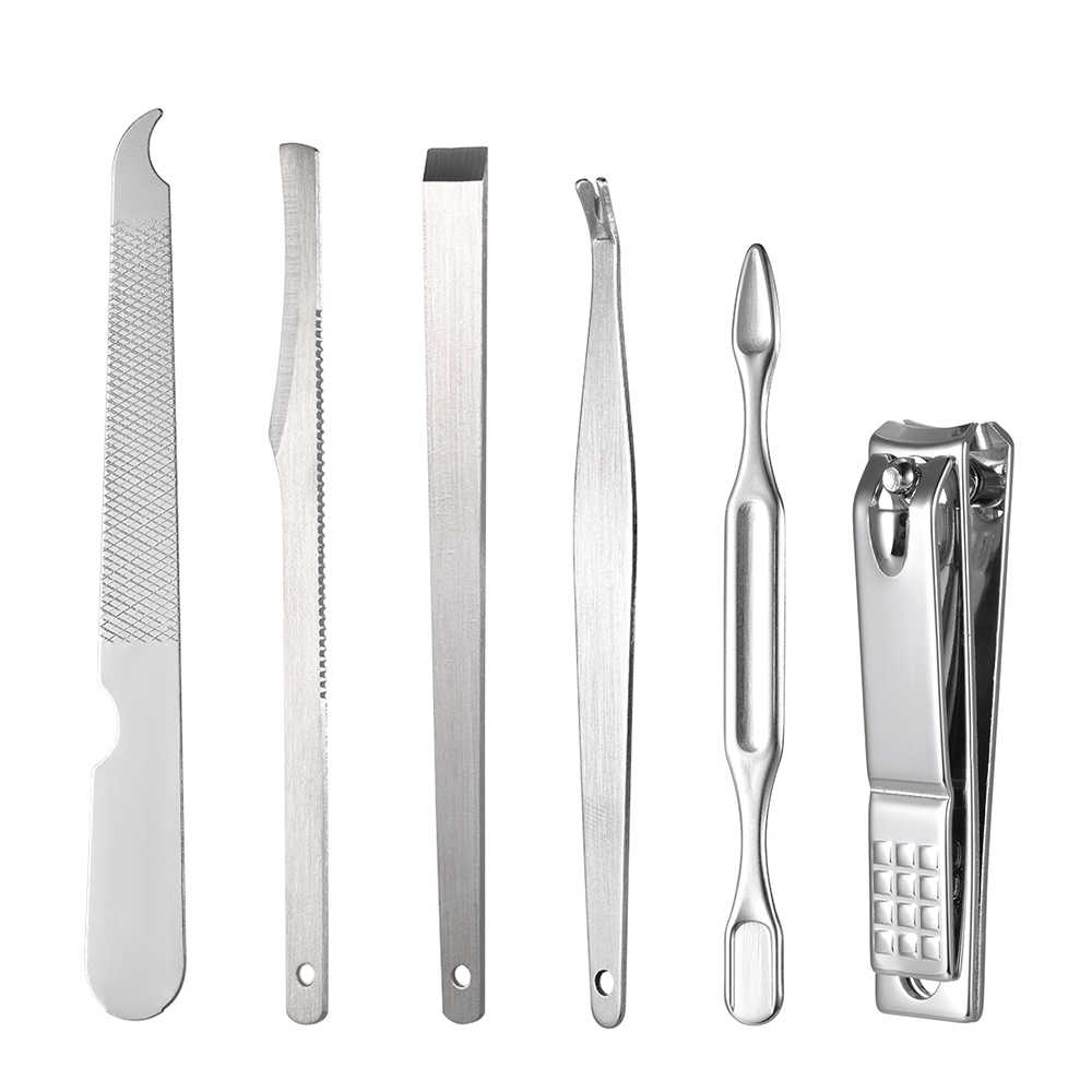 16Pcs Nail Care Set Rvs Manicure Gereedschap Pedicure Set Clipper Cutter Scissor Tweezer Earpick Meeëter Naalden PU Zak