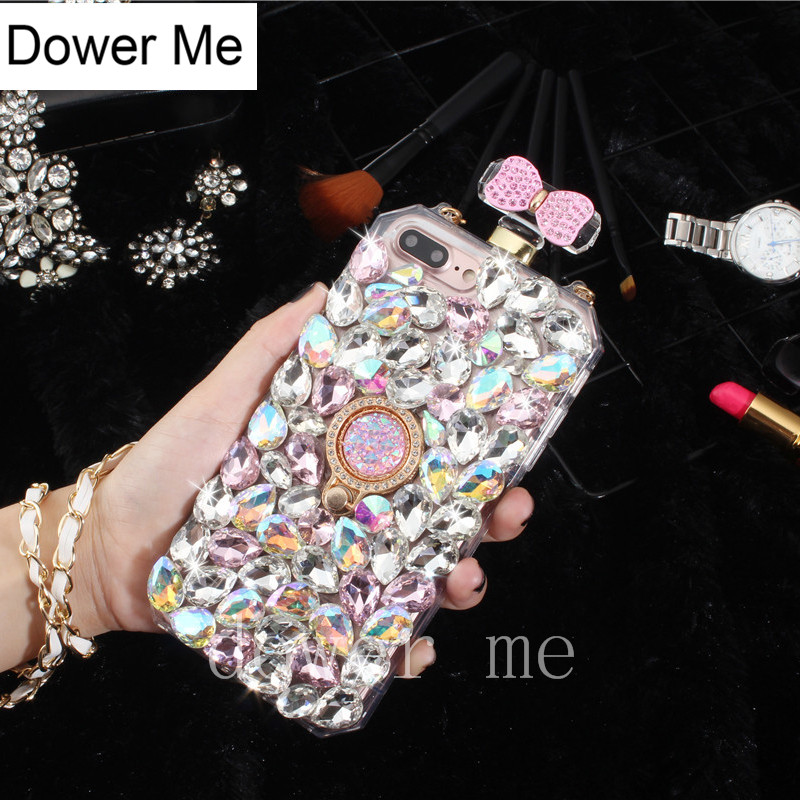 Dower Me Crystal Ring Grip Full Diamond Bowknot Perfume Bottle Case With Chain For Samsung S9/8/7/6 Edge Plus S5 S4 Note 8 5 4 3 ...