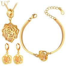 U7 Cubic Zirconia Conjunto de Joyas Para Las Mujeres Chapado En Oro Romántico Rosa Flor Collar/Pendientes/Pulsera Juegos de Joyería S411
