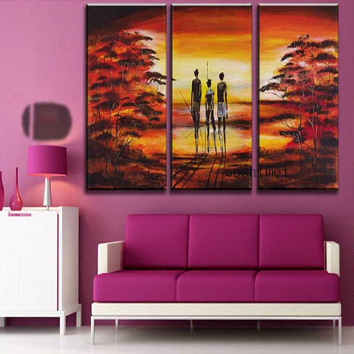 Wall Painting For Living Room India Carpets Rooms Ideas ツ Hand Painted Pictures Abstract Landscape Oil Home Decor Art Picture On Canvas