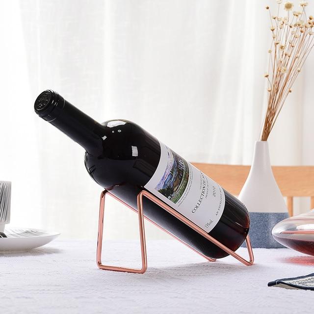 Simple Golden Silvery Tabletop Wine Bottle Holder Metal Red Rack Shelf For Wedding Banquet Restaurant Home