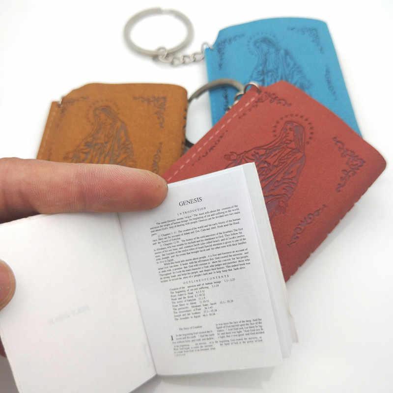 Printing Leather Bag Mini Holy Bible Book Pendant English Version of Christian  Keychains Funny Car Key 581e1560b662