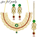 New Arrival Zircon Choker Necklaces Kundan Bollywood Collar Gold Plated Jewelry Sets Earrings Hairwear for Women Bridal Weddings
