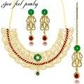 Nueva llegada zircon choker collares kundan bollywood collar de oro conjuntos de joyas pendientes hairwear para las mujeres bodas bridal