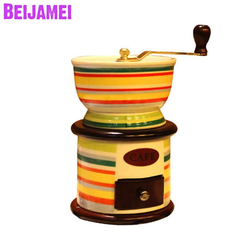 BEIJAMEI New Retro hand grinder ceramic manual coffee grinder household small grinding coffee bean machine
