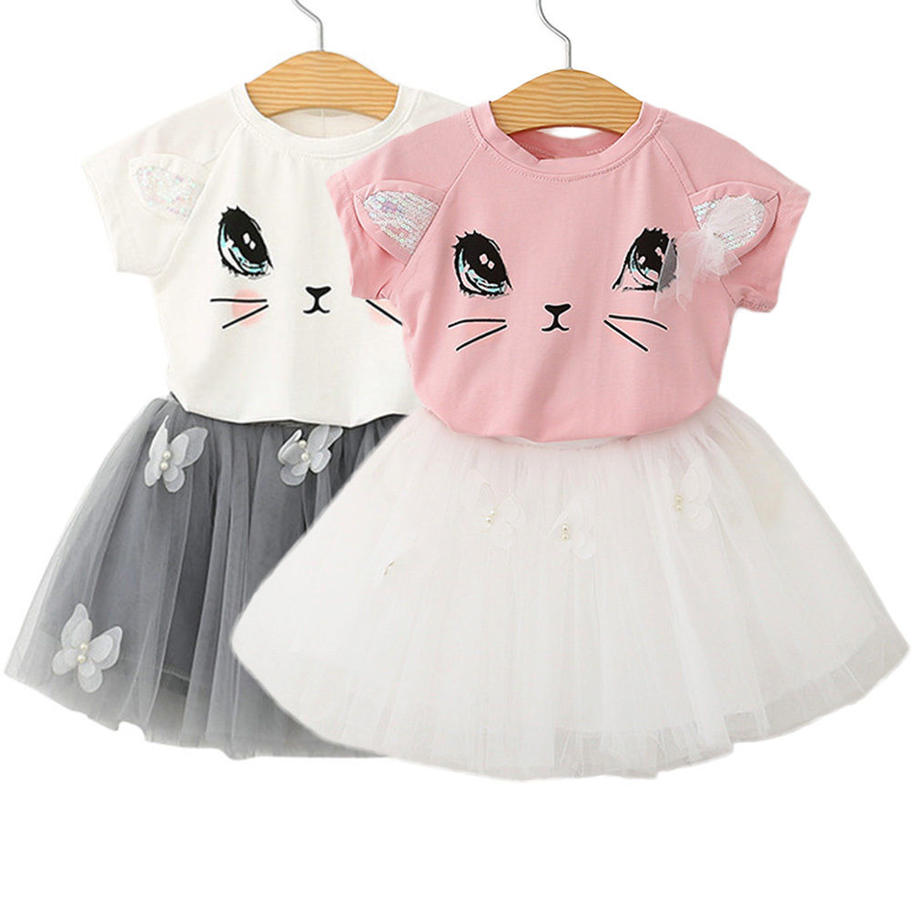 Cute Baby Girl Clothes Set 2017 Summer Cat Printed T-shirt Tops+Tutu Skirt 2PCS Princess Girls Outfits Children Suit 2-7Y 2017 cute kids girl clothing set off shoulder lace white t shirt tops denim pant jeans 2pcs children clothes 2 7y