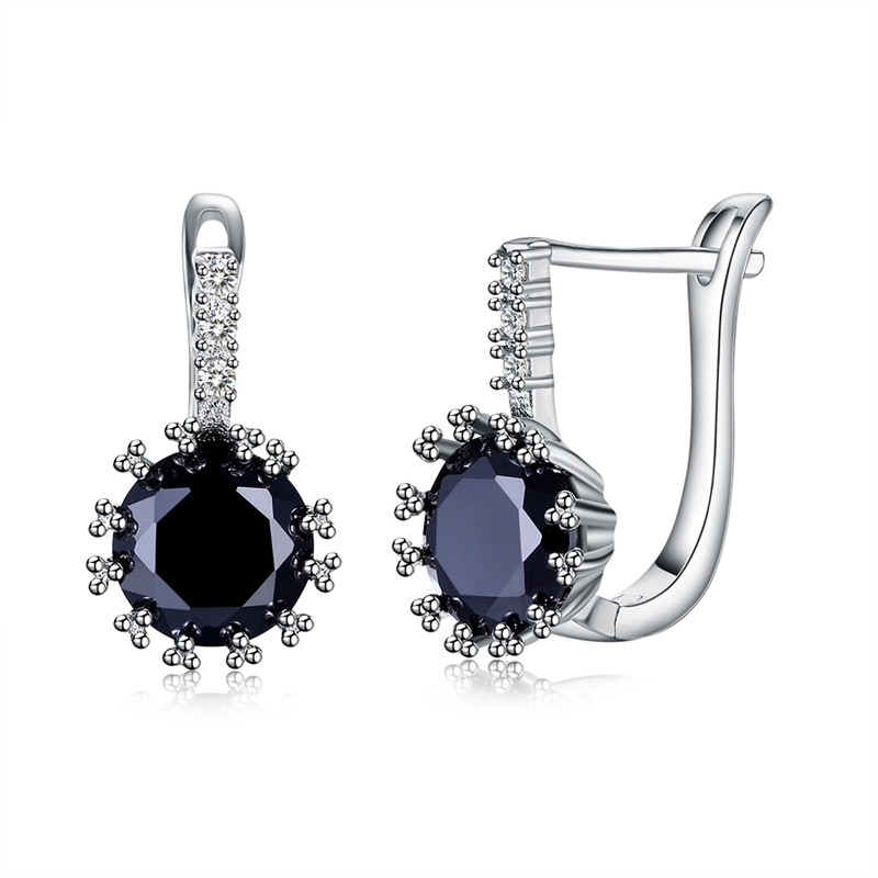 Clip Earring of KZCE253,fine jewelry earring Top AAA black zirconia with PP plated,clip earring for woman, Valentines gifts