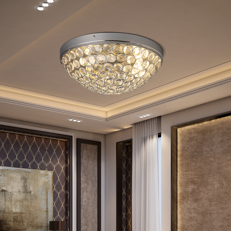 Round LED Crystal Ceiling Light Living Room Indoor Lamp teto cristal Ceiling Lamps luminaria home decoration flush mount light lumiparty flush mount small led ceiling light ceiling lamp for home art gallery decoration front balcony porch light jk30