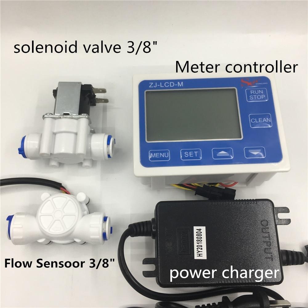 3 8 flow sensor ZJ LCD M flow meter controller Soleniod valve power charger LCD Display