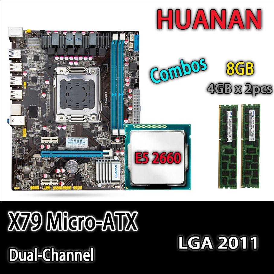 HUANAN golden X79 motherboard micro-ATX X79 LGA 2011 mainboard combos E5 2660 C2 SR0KK 2 x 4GB 8GB 1333Mhz REG ECC DDR3 RAM