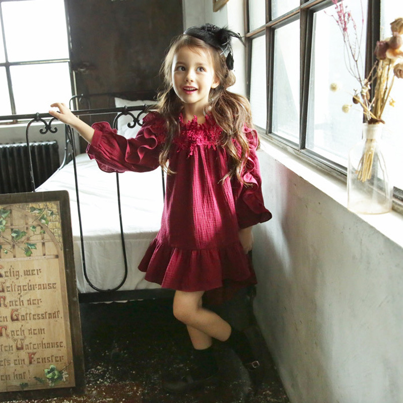 YNB High Quality Kids Dresses for 5~10 Years Girls Long Sleeve Cotton Girl Dress Children's Beige Red Princess Clothes Girls girls dress sweet red long sleeve princess dress high quality cotton party dresses cute kids clothes for girl children clothing