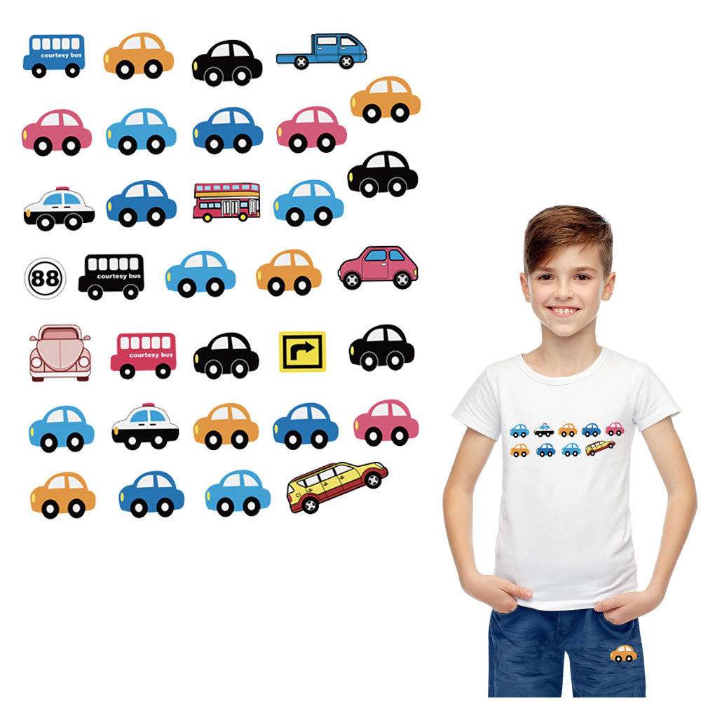 crane cars <font><b>bus</b></font> <font><b>patches</b></font> iron on transfer for kids clothes diy A-Level washable applique baby stickers easy print by household image