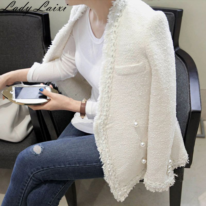 2019 Autumn Winter Vintage Woolen jackets Coats Womens Tweed jacket Elegant ladies Wool Coat Slim Female Casaco Feminino