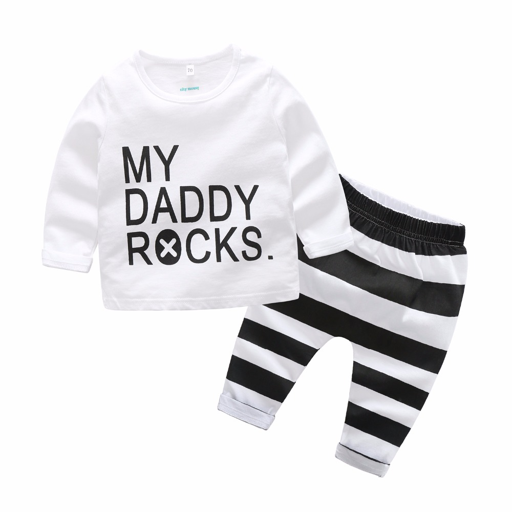 2018 Spring baby boys cotton t shirts + pant set high quality infant printed MY DADDY ROCKS top leggings kids clothing 17N1120 little maven 2017 summer baby boys girls t shirts children cotton letter printing daddy my super hero t shirts brand tops l013