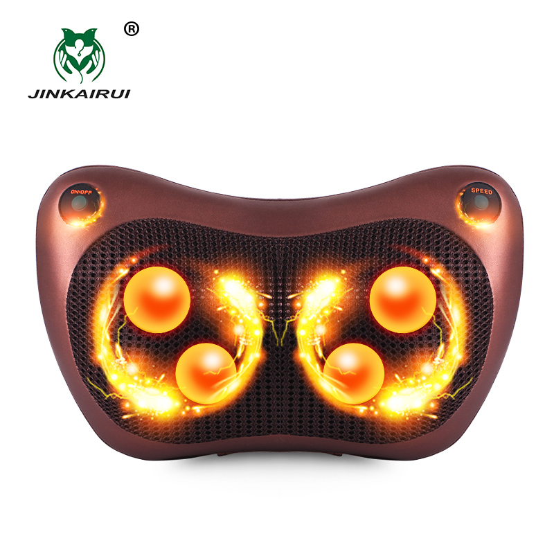 JinKaiRui Electric Infrared Heating Kneading Neck Shoulder Back Body Spa Massage Pillow Car Chair Shiatsu Massager Masaj Device electric shiatsu foot massager far infrared heating kneading reflexology massage device home relaxation back massager