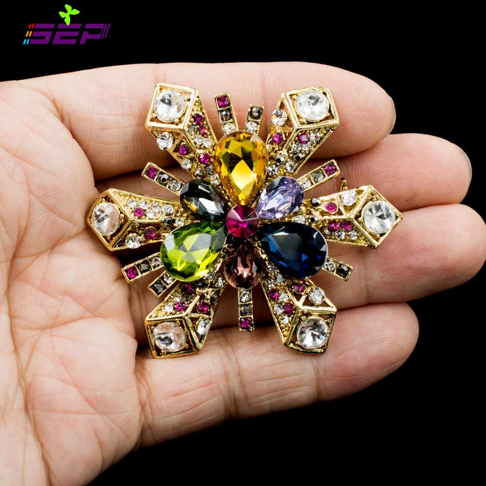 Sale Snow Flake Brooches Crystals Rhinestone Pins Broaches for Wedding Flower Bouquet or Women font b