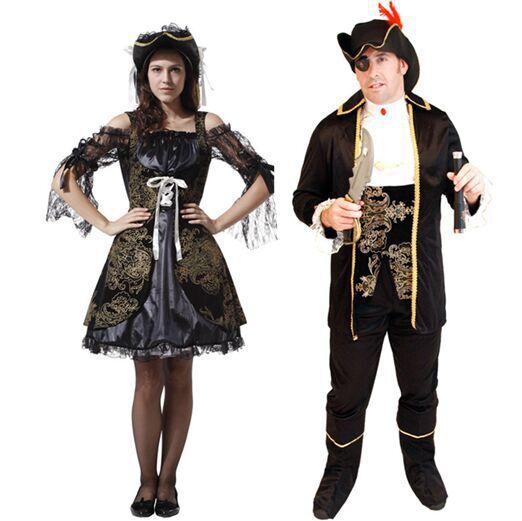 2019 New Carnival Clothing Halloween Costume Hooker Pirate Couple Cosplay Adult Jack Captain's Costume Dance Party
