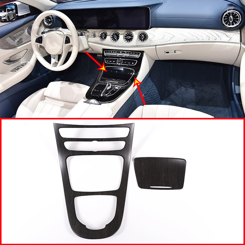Oak Wood Style Car Center Console Gear Panel Frame Cover Trim Stickers For Mercedes Benz E Class W213 2016-2018 Car Accessories console center gear shift shifter panel cover trim frame stickers car styling fit for chevrolet camaro 2017 interior accessories