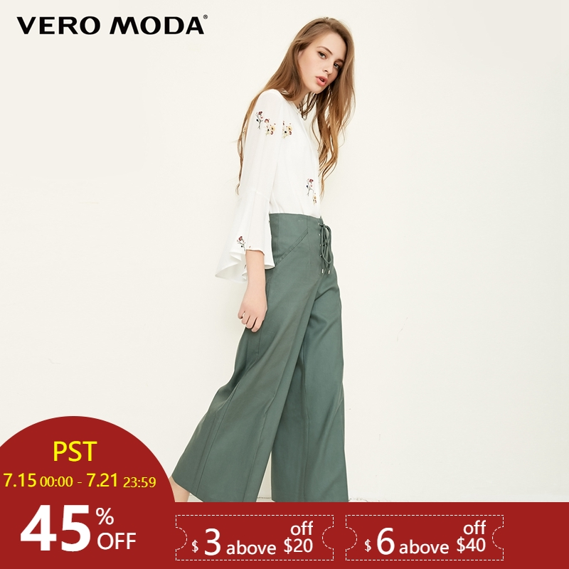 Vero Moda 2019 new straps decorated cropped   wide     leg     pants   | 318250530