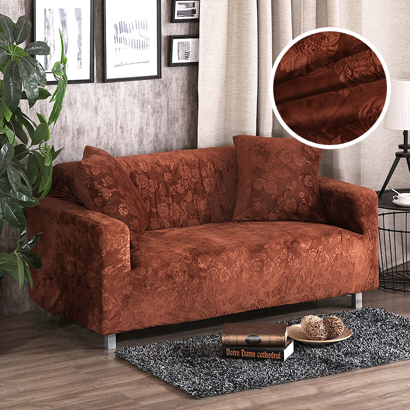 Sofa Covers Jacquard Thick Velvet Universal Stretch Elastic Couch Slipcovers Sectional Sofa Covers Plush Warm 1/2/3/4 Seater