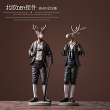 Creative resin deer people figurines vintage elk boys statue home decor crafts room decoration objects animal
