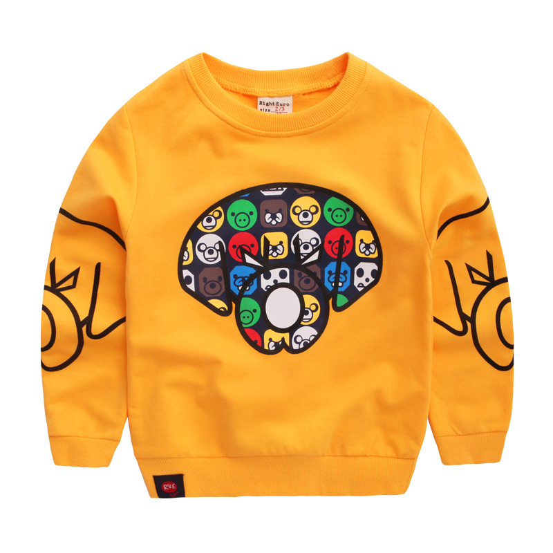2018 spring high quality 100% cottom cute cartoon boys and girls sweatshirts children casual pullovers kids leisure sport wears