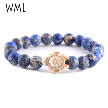 WML New Trendy Sea turtle Tortoise men bracelet Lava Natural Stone Beads yoga Bracelets & Bangles for women Jewelry
