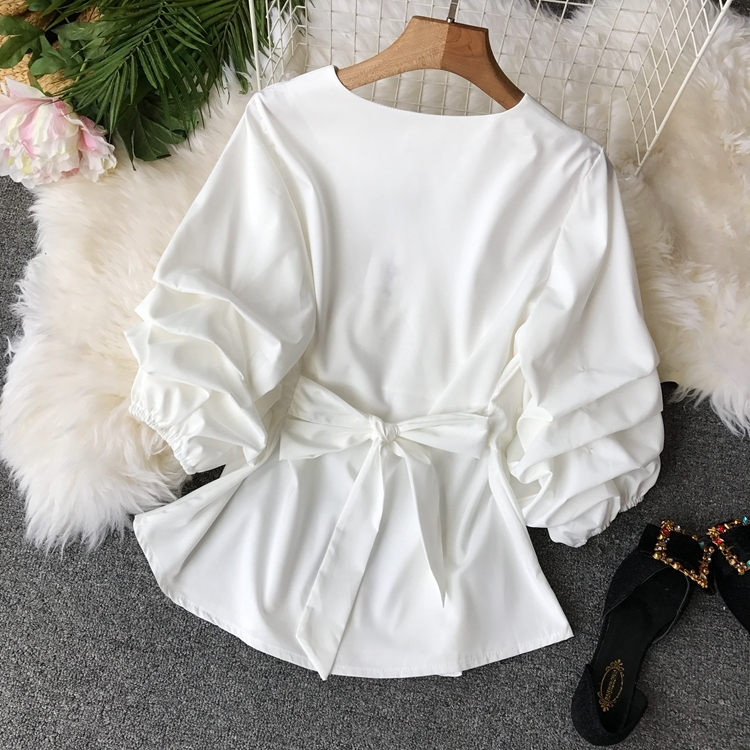 2109 Spring Women V-neck Puff Sleeves Blouse Slim Tunic Tops Retro Vintage Pullovers Busos Para Mujer Kimonos 98
