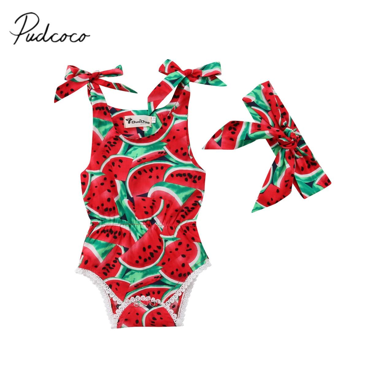 2018 Marke Neue 0-24 Mt Sommer Neugeborenen Kleinkind Baby Mädchen Romper 2 Stücke Sleeveless Wassermelone Druck Elastische Taille Overall + Stirnband