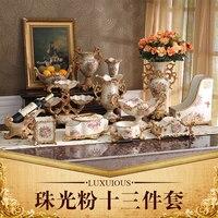 The European Home Furnishing high grade decorative resin crafts fruit plate paper towel box set luxury decoration vase