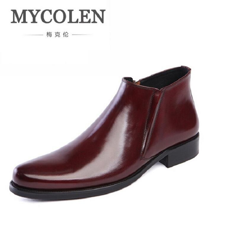 MYCOLEN Genuine Leather Men Boots Winter Causal Business Work Shoes Male Mens Waterproof Ankle Boot Mens Winter Footwear new men winter boots plush genuine leather men cowboy waterproof ankle shoes men snow boots warm waterproof rubber men boots