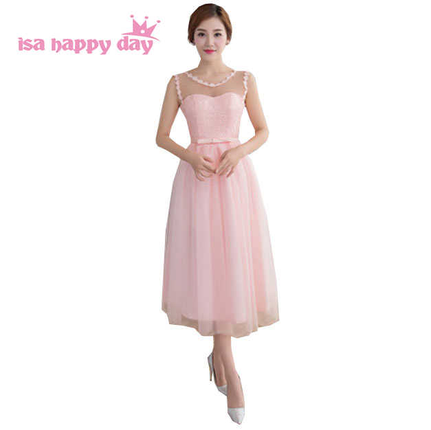 short light pink elegant illusion neckline tulle womens sexy bridesmaid  dresses under  50 bridemaid dress party b0de6e324875