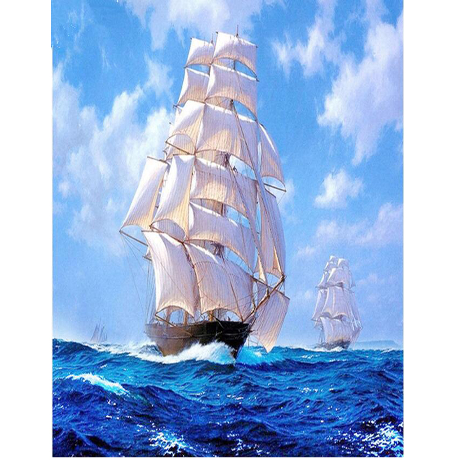 Embroidery Full square drill painting Cross Stitch Caribbean ship Sea Sailboat Rhinestone diamond painting 5d diy Mosaic
