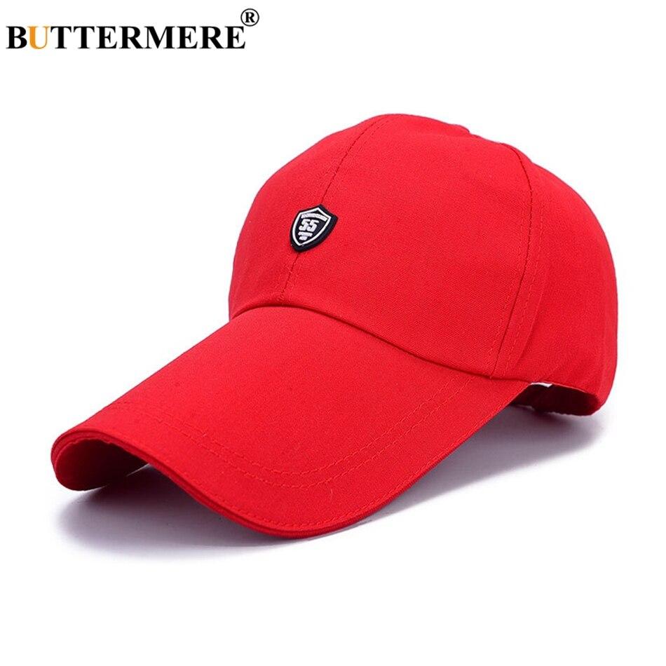 BUTTERMERE Red Baseball Caps Golf Sun Cap Mens Long Brim Adjustable Snapback Hat Outdoors Summer Casual Canvas Dad Hats Womens