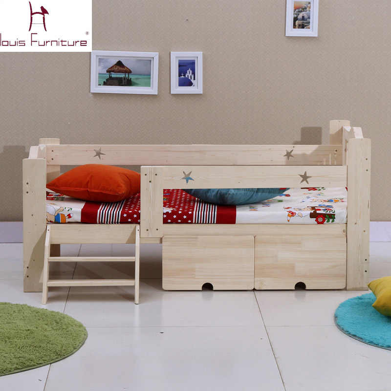 Wooden children bed baby cot with guardrail