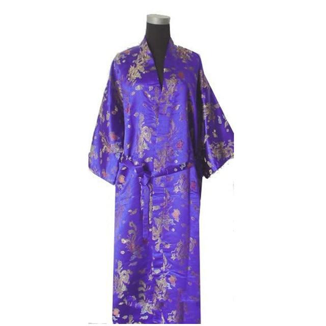 Novelty Purple Chinese Men Silk Satin Robe Vintage Kimono Bath Gown Summer  Sleepwear Dragon Size S M L XL XXL XXXL c0b5b41dc