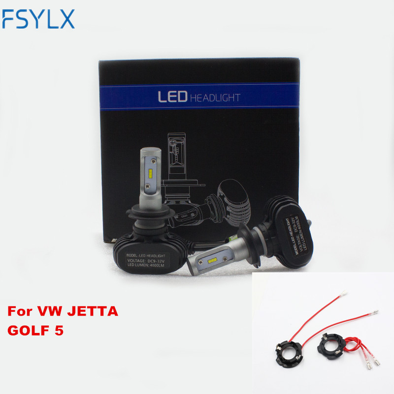 FSYLX H7 led headlight for Volkswagen golf 5 car styling h7 headlamp with socket adapter holder for VW golf5 jetta