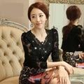 2015 blusas Autumn Slim long-sleeve shirt Floral lace tops diamond stitching Women lace blouse Plus size clothing 852E 25