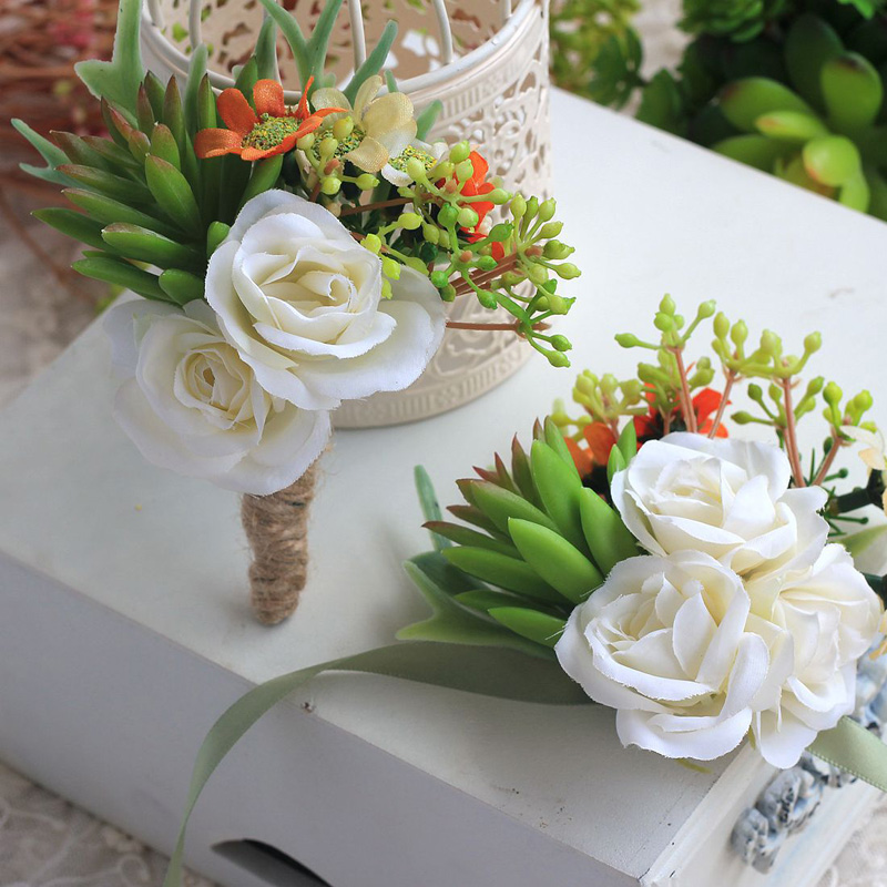 Groom Boutonniere Groomsman Wedding Corsages And Boutonnieres For Guests Artificial Flowers Silk Rose Faux Succulents Brooch