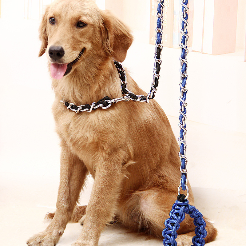 hot sale anti bite dog leash patchworks metal leads training chain large dog harness strengthen. Black Bedroom Furniture Sets. Home Design Ideas