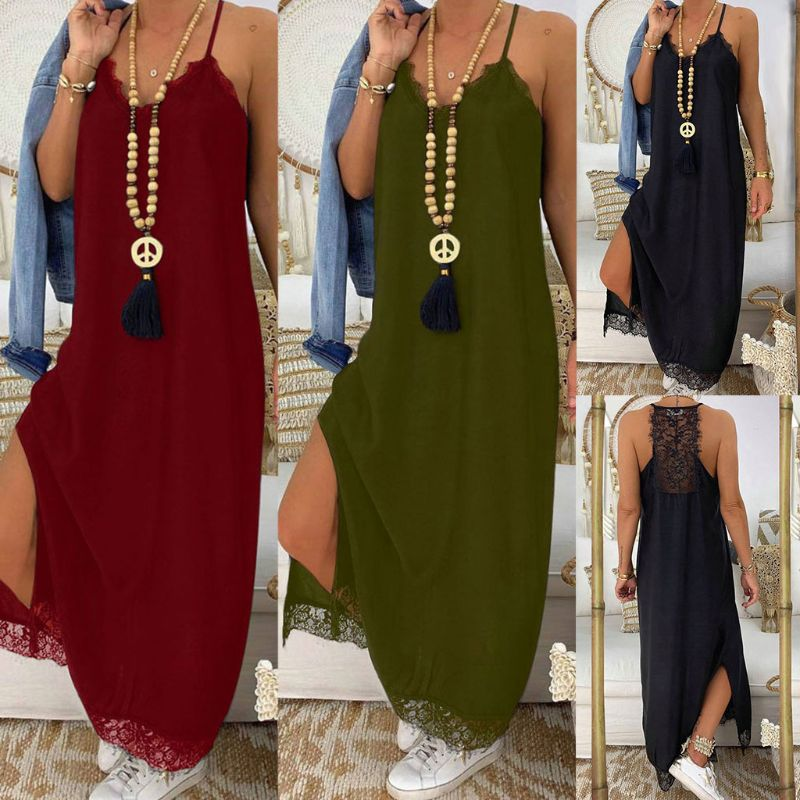 Women Summer Beach BOHO V Neck Lace Splicing Sleeveless Sling Maxi Dress Sundress