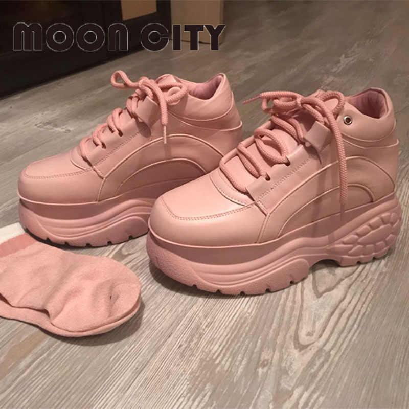 2019 marka pembe platformu Sneakers İlkbahar & sonbahar bayan rahat spor ayakkabı kadın deri Platform ayakkabılar deve moda spor ayakkabı