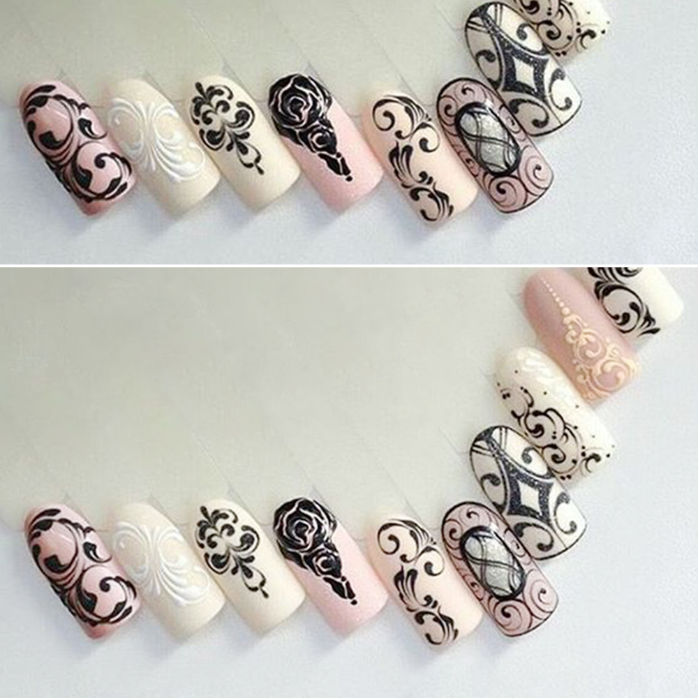 1 Sheets Water Transfer Nail Stickers Pattern Simple Black Designs ...